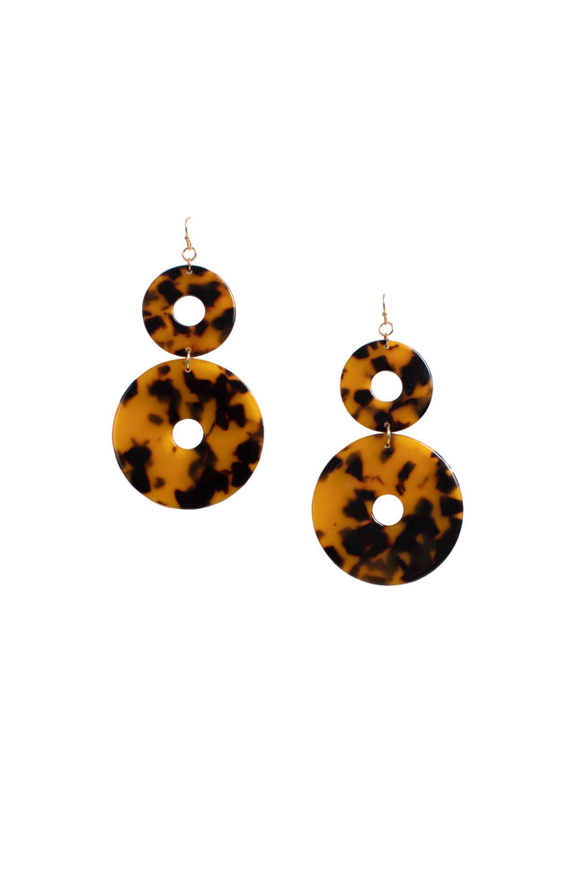 TORTOISE DOUBLE CIRCLE EARRING