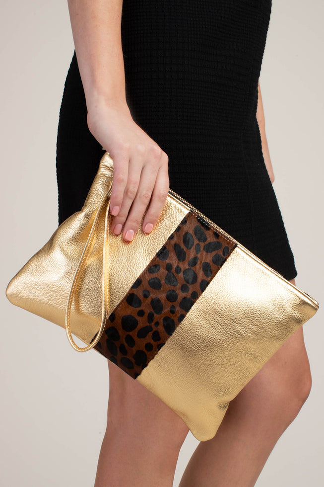 GOLDIE LEOPARD CLUTCH