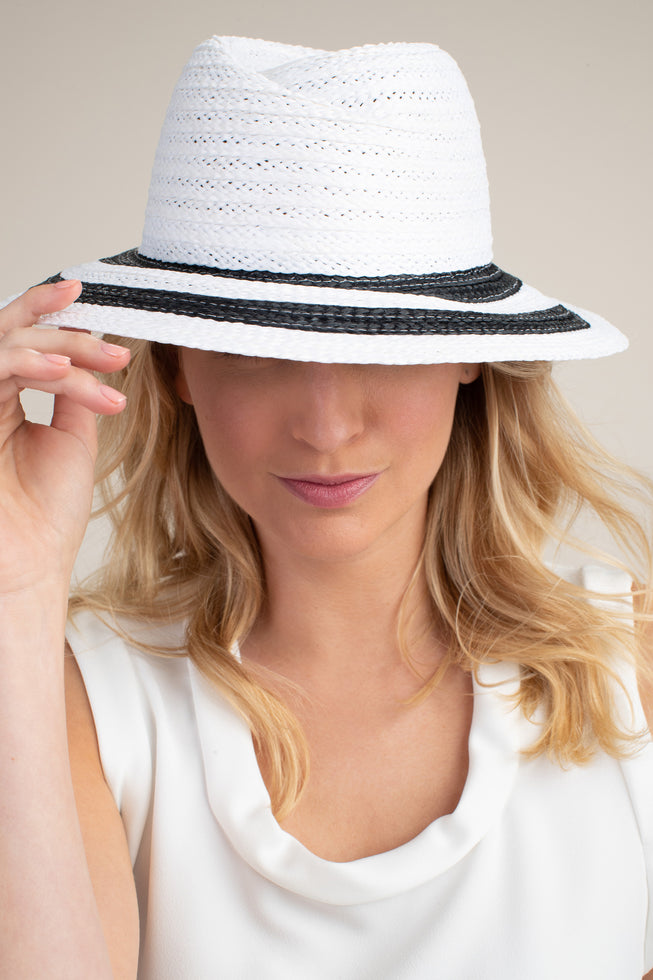DERBY STRIPE RAFFIA HAT