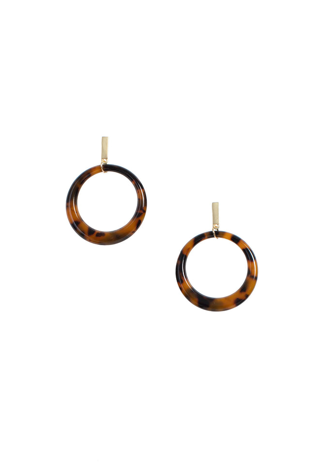 TORTOISE OPEN CIRCLE EARRING