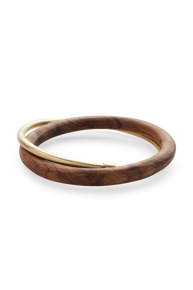 BRASS AND TEAK BANGLE SET