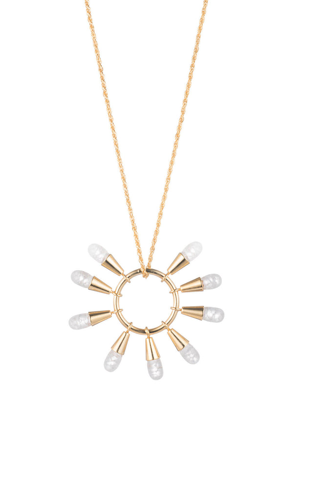 GOLDEN RAY RADIAL PENDANT NECKLACE