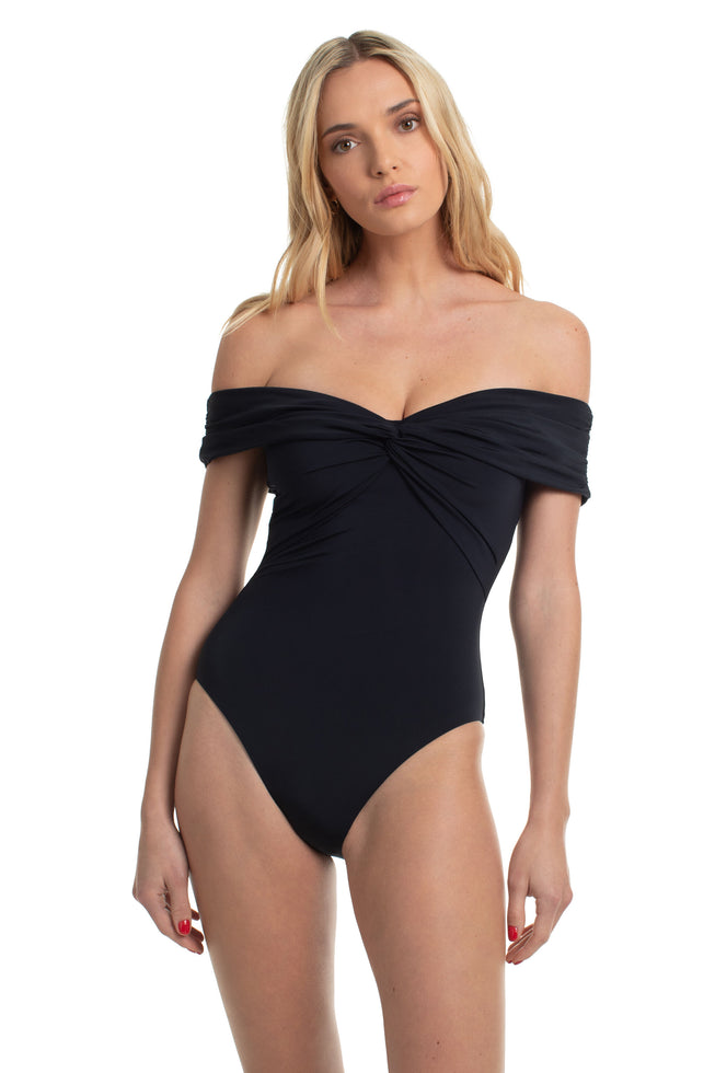 GETAWAY SOLIDS TWIST BANDEAU ONE PIECE