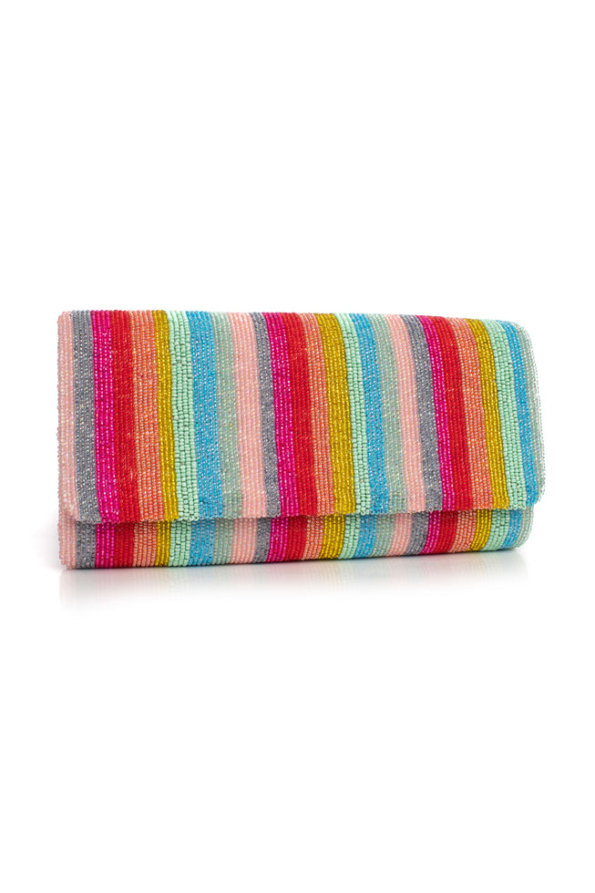 ANNIVERSARY STRIPE BEADED CLUTCH