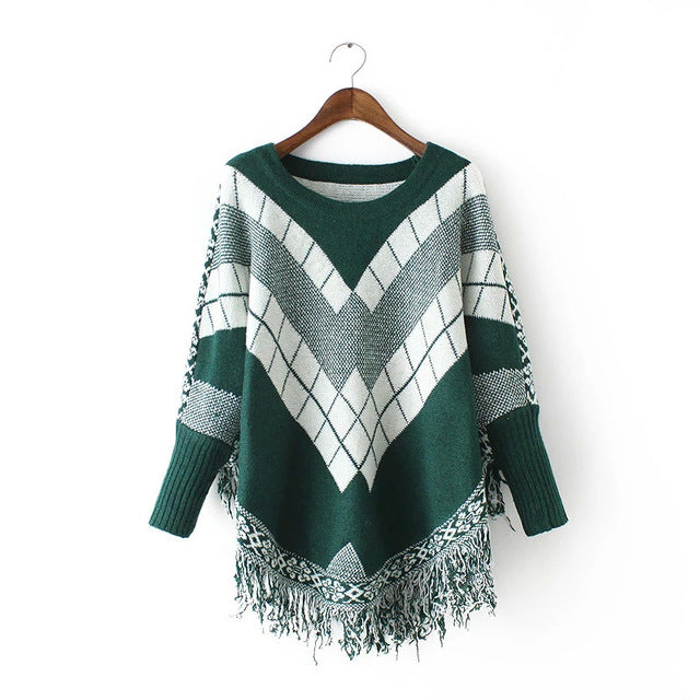 Cozy Poncho Sweater - Red