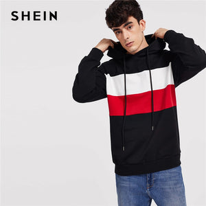 3abca80ccfd72 SHEIN Men Multicolor Color Block Drawstring Hoodie Casual Long Sleeve  Pullovers Autumn Hooded Minimalist Sweatshirts