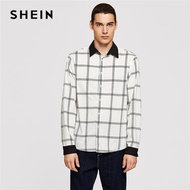8f2aff526c0f0 SHEIN Men Black and White Button   Pocket Front Plaid Button Long Sleeve  Pocket Placket Shirt