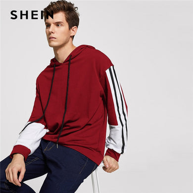 e376cfa5d6f26 SHEIN Men Burgundy Casual Minimalist Drawstring Color Block Long Sleeve  Hoodie Pullovers 2018 Autumn Leisure Male