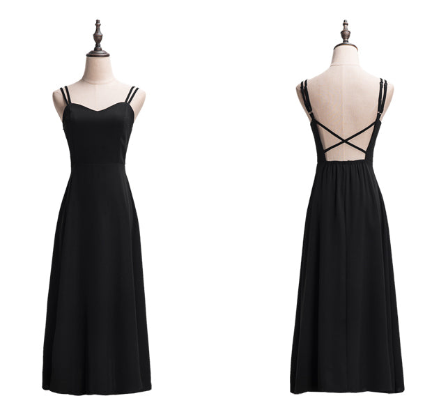 """Alesha"" Black Low Back Sweetheart Midi Dress"