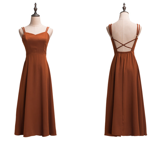 """Alesha"" Copper Low Back Sweetheart Midi Dress"