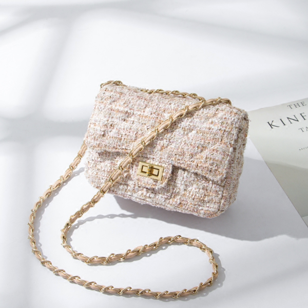 """Claire"" Warm Beige Tweed Flap Bag"