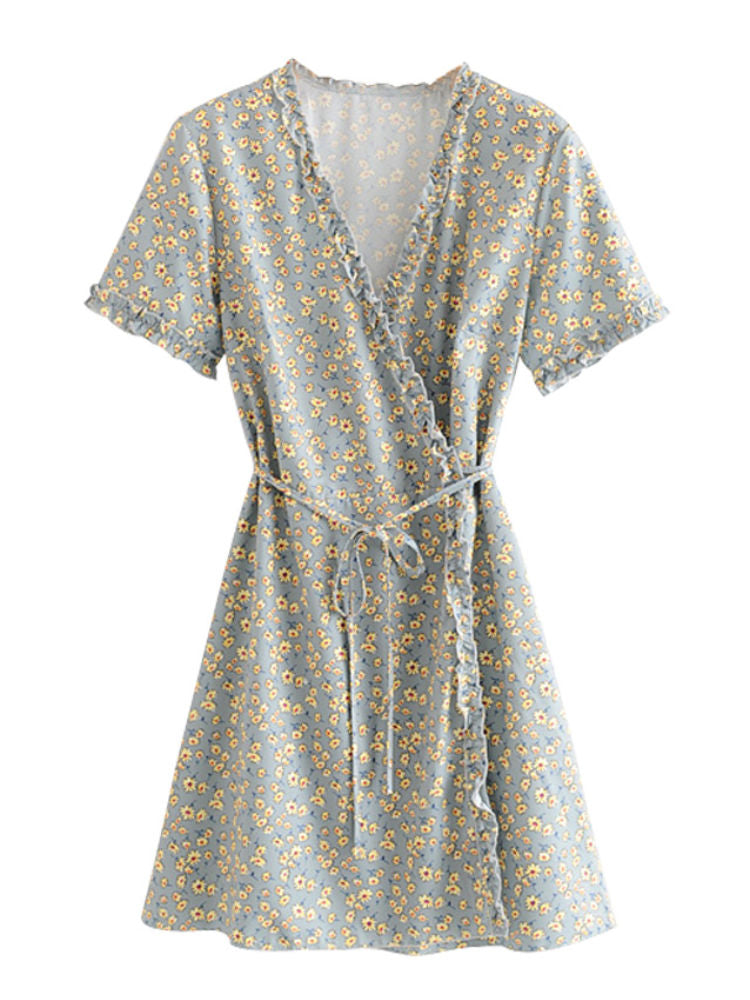 """Darling"" Cornflower Floral Print Wrap Dress"