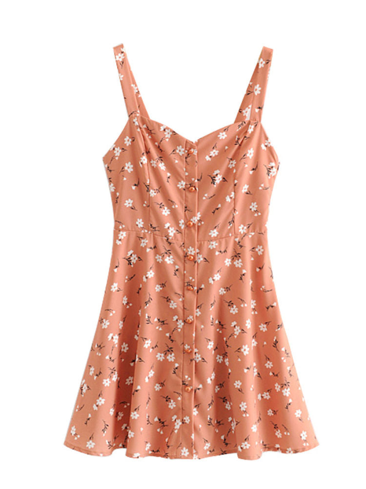"""Florette"" Coral Floral Print Mini Dress"