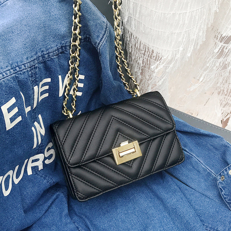 """Vanessa"" Black Quilted Flap Bag"