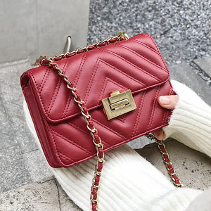 """Vanessa"" Ruby Red Quilted Flap Bag"