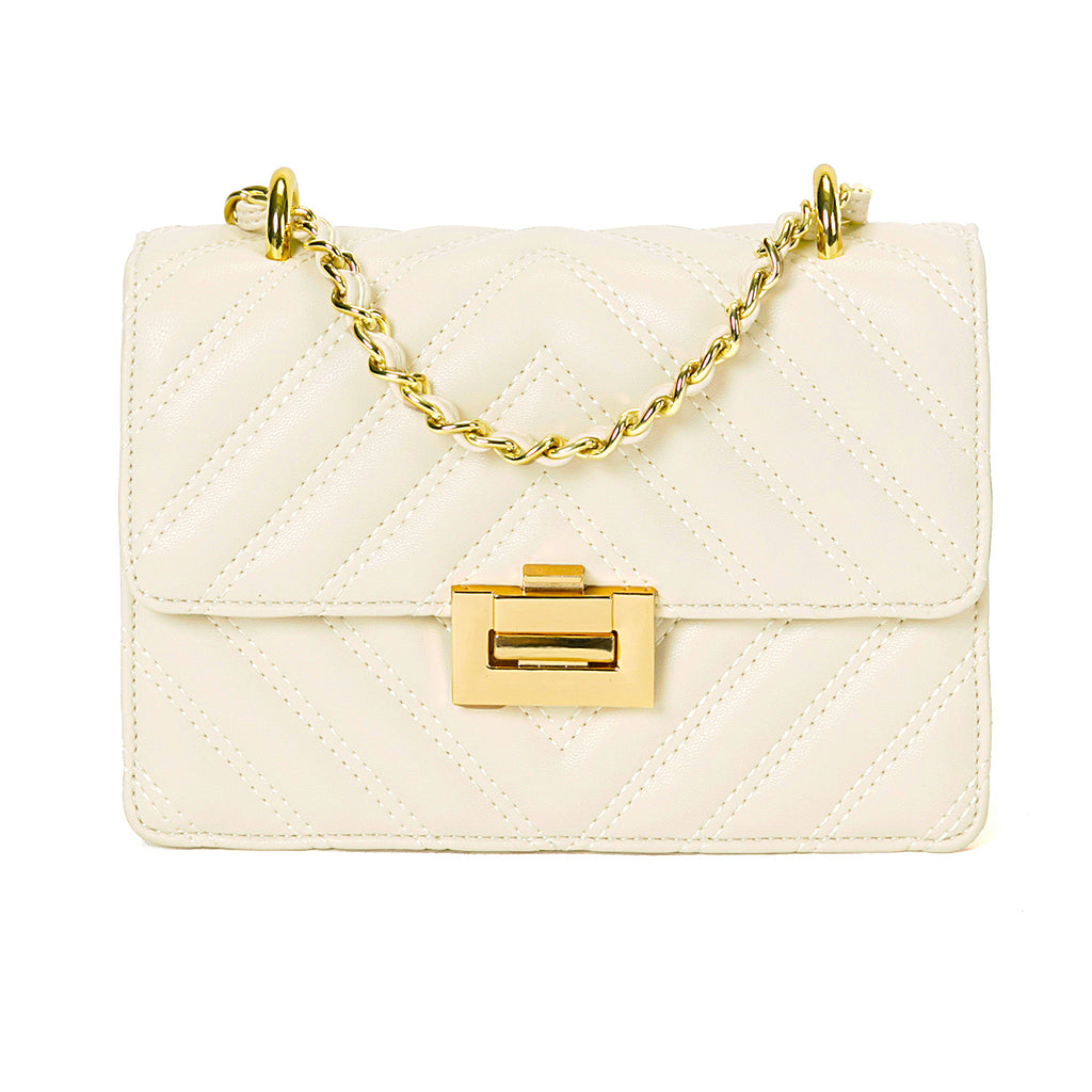 """Vanessa"" Ivory Quilted Flap Bag"