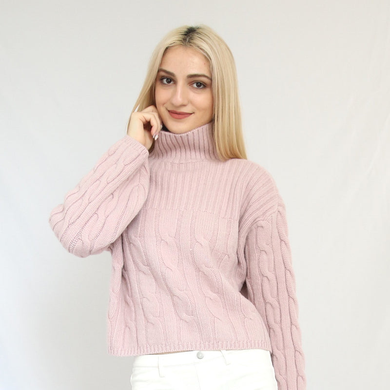 """Isabel"" Lilac Pink Cable Knit Turtleneck Sweater"