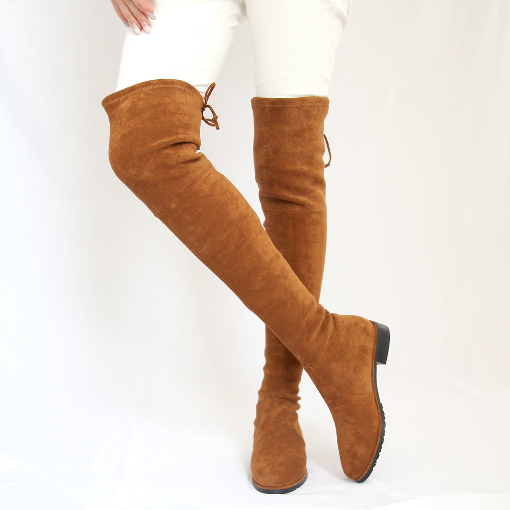 """Riley"" Camel Over-the-knee Flat Boots"