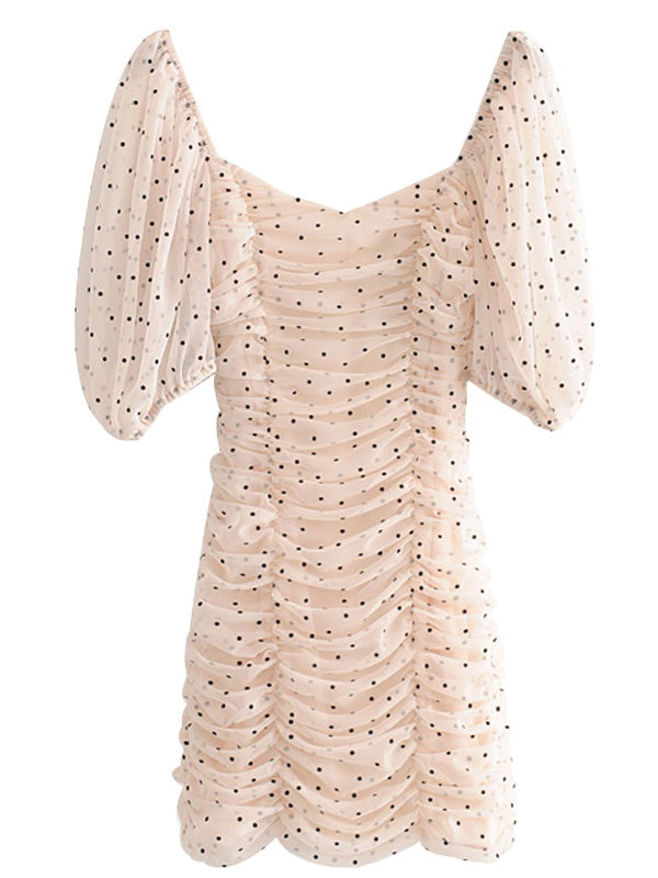 """Macy"" Polka Dot Sheer Drop Shoulder Mini Dress"