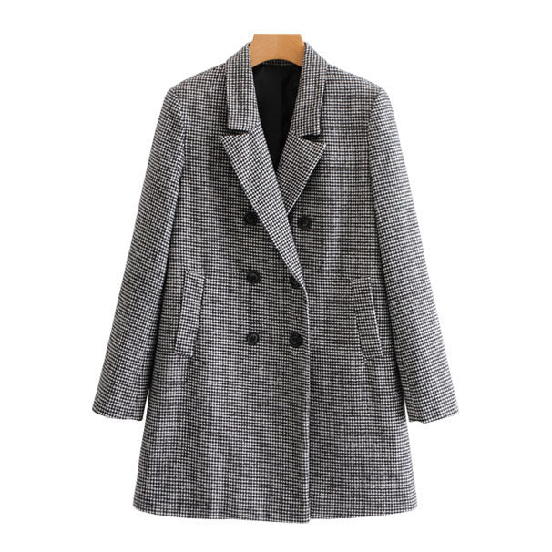 """Jessica"" Houndstooth Double-breasted Coat"