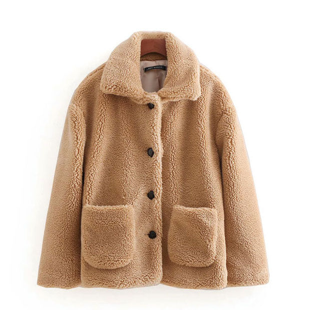"""Maggie"" Tan Teddy Wool Coat"
