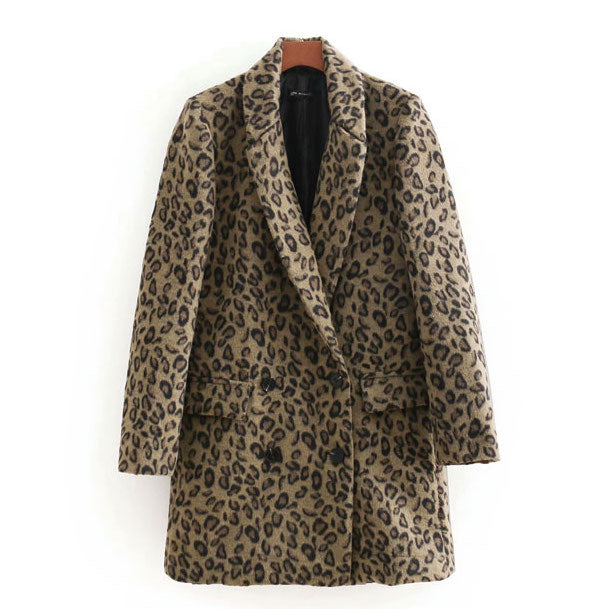 """Lindsay"" Leopard Print Double Breasted Coat"