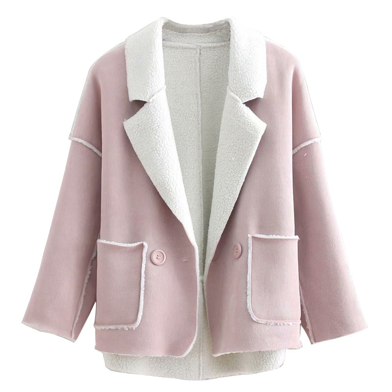 """Krista"" Rose Open-front Corduroy Coat"