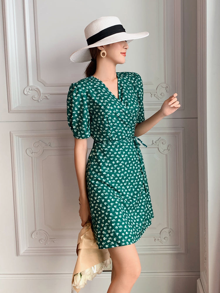 """Paisley"" White Floral Print Green Wrap Dress"