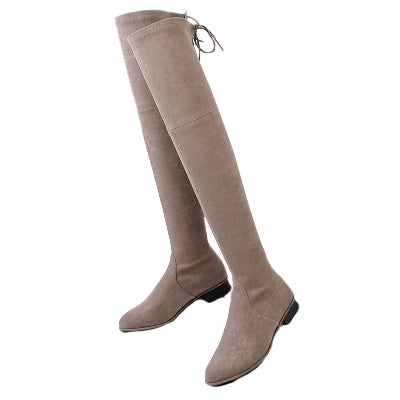 """Riley"" Taupe Over-the-knee Flat Boots"