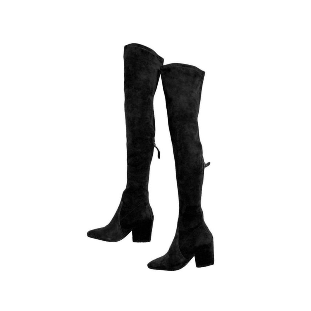 """Heather"" Black Over The Knee Pointed Boots"