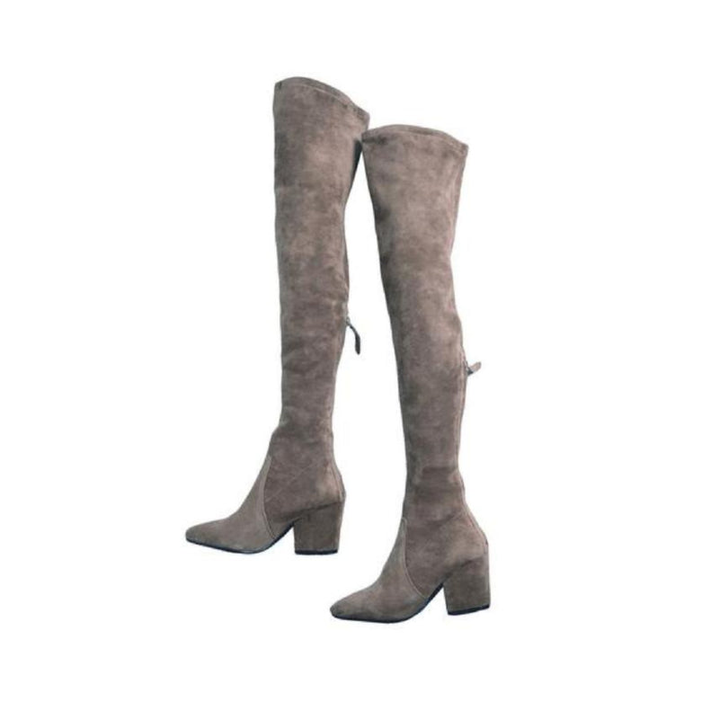 """Heather"" Taupe Over The Knee Pointed Boots"