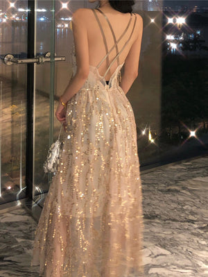 """Sabrina"" Sequinned Chiffon Maxi Dress"