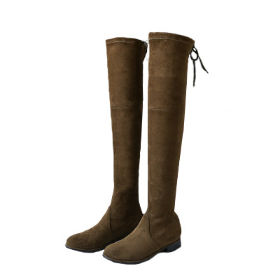 """Riley"" Army Green Over-the-knee Flat Boots"