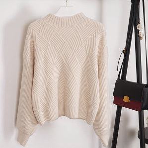 """Chloe"" Cream Puffed Sleeves Cropped Sweater"