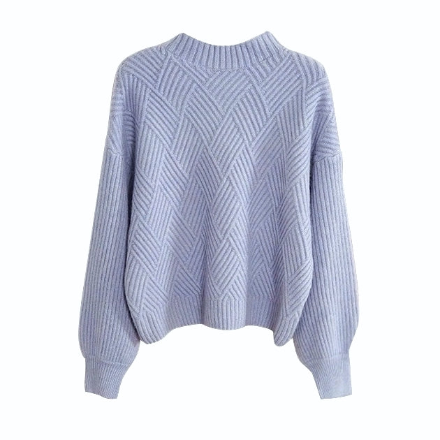 """Chloe"" Dusty Blue Puffed Sleeves Cropped Sweater"