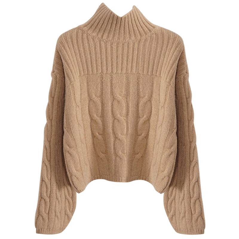 """Isabel"" Beige Cable Knit Turtleneck Sweater"