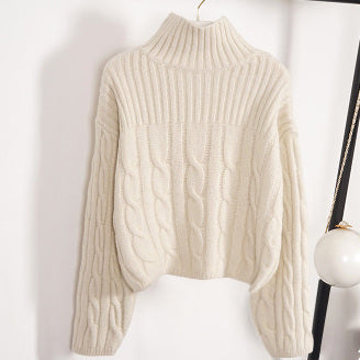 """Isabel""Cream Cable Knit Turtleneck Sweater"
