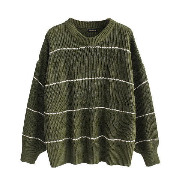 """Taylor"" Military Green Ribbed Knit Sweater"