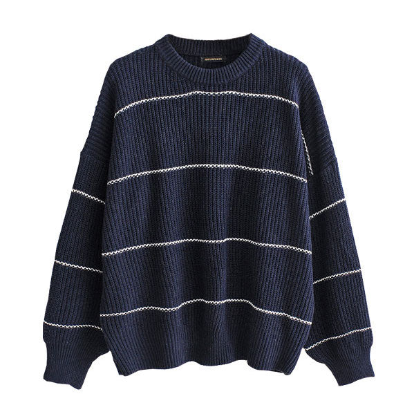 """Taylor"" Navy Ribbed Knit Sweater"