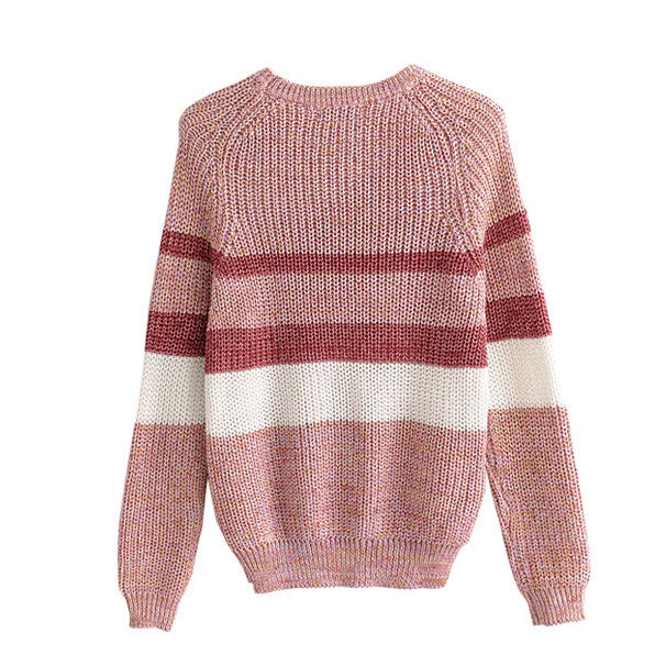 """Vicky"" Pink Mixed Knit Sweater"