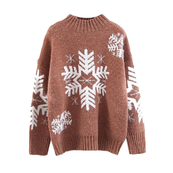 """Lydia"" Mauve Red Snowflake Print Sweater"