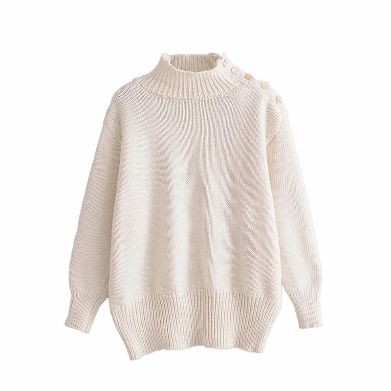 """Becca"" Button Stand-up Collar Sweater"