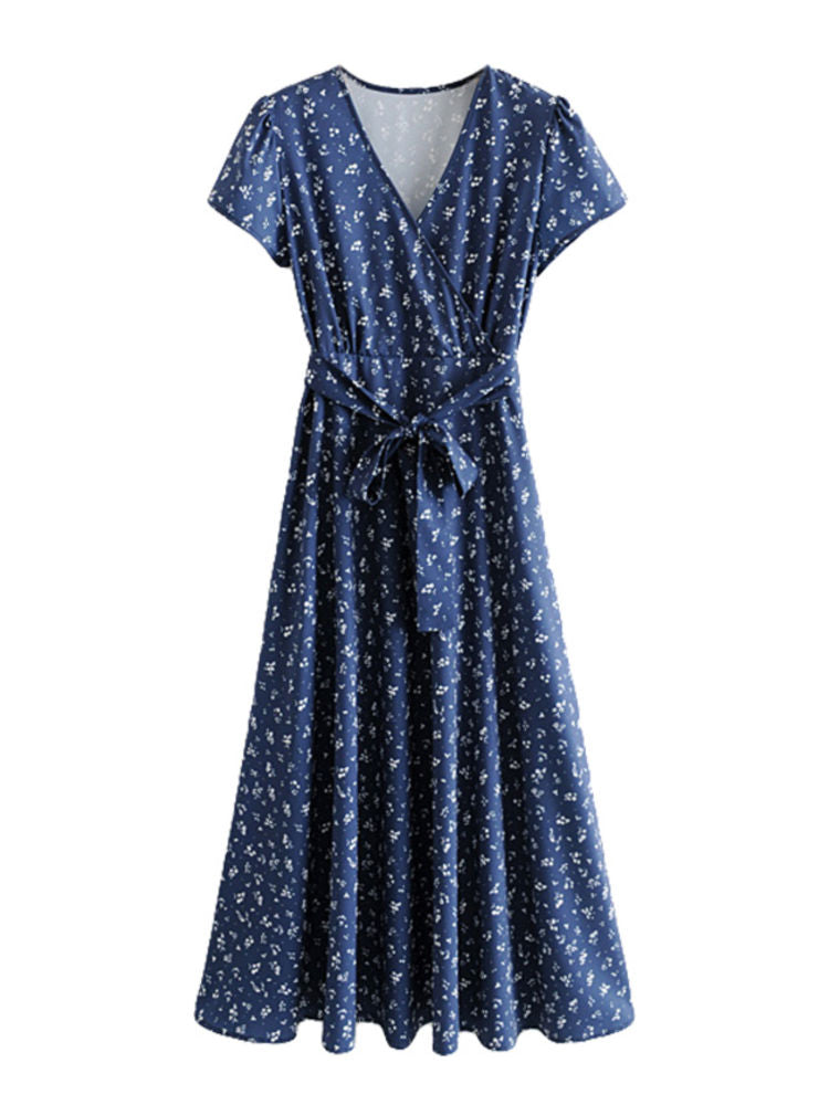"""Teca"" Navy Blue Vintage Print Maxi Wrap Dress"