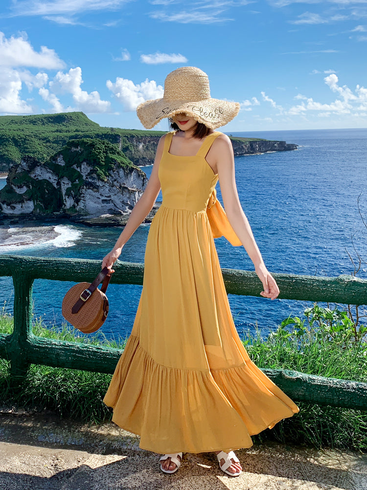 """Veronica"" Mustard Yellow Ruffle-hem Maxi Dress"