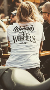 IRON BLACK WOMEN ON WHEELS LADIES TEESHIRT WHITE