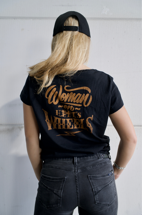 IRON BLACK WOMEN ON WHEELS LADIES TEESHIRT BLACK