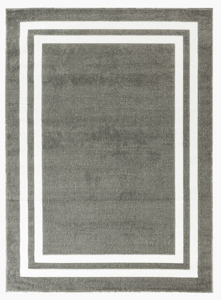 Port Lucy Collection Gray Traditional White Border Rug