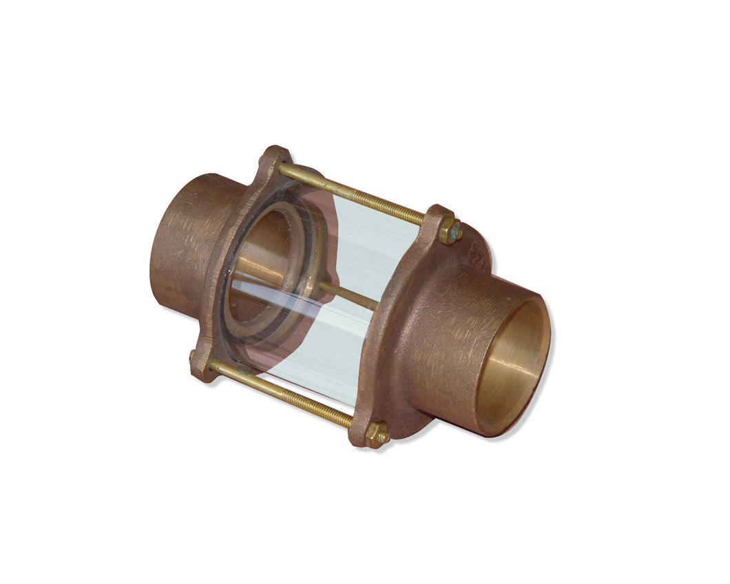 Afras Brass In-line Sweat Sight Glass Assembly