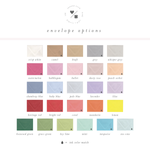 personalized note cards envelope color options
