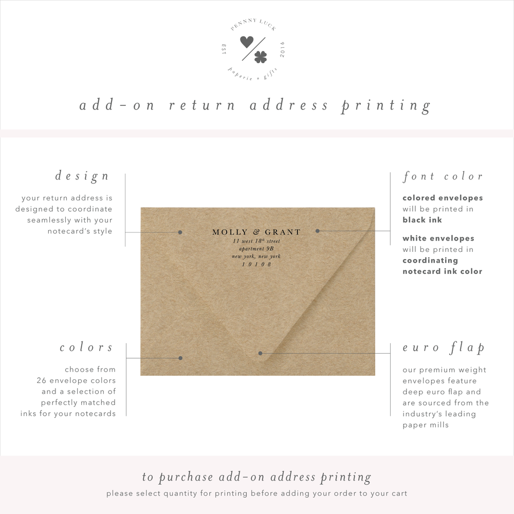 return address printing for personalized stationery sets • penny luck paperie